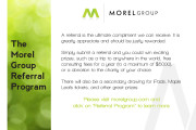 Morel Group Referral Program Postcard